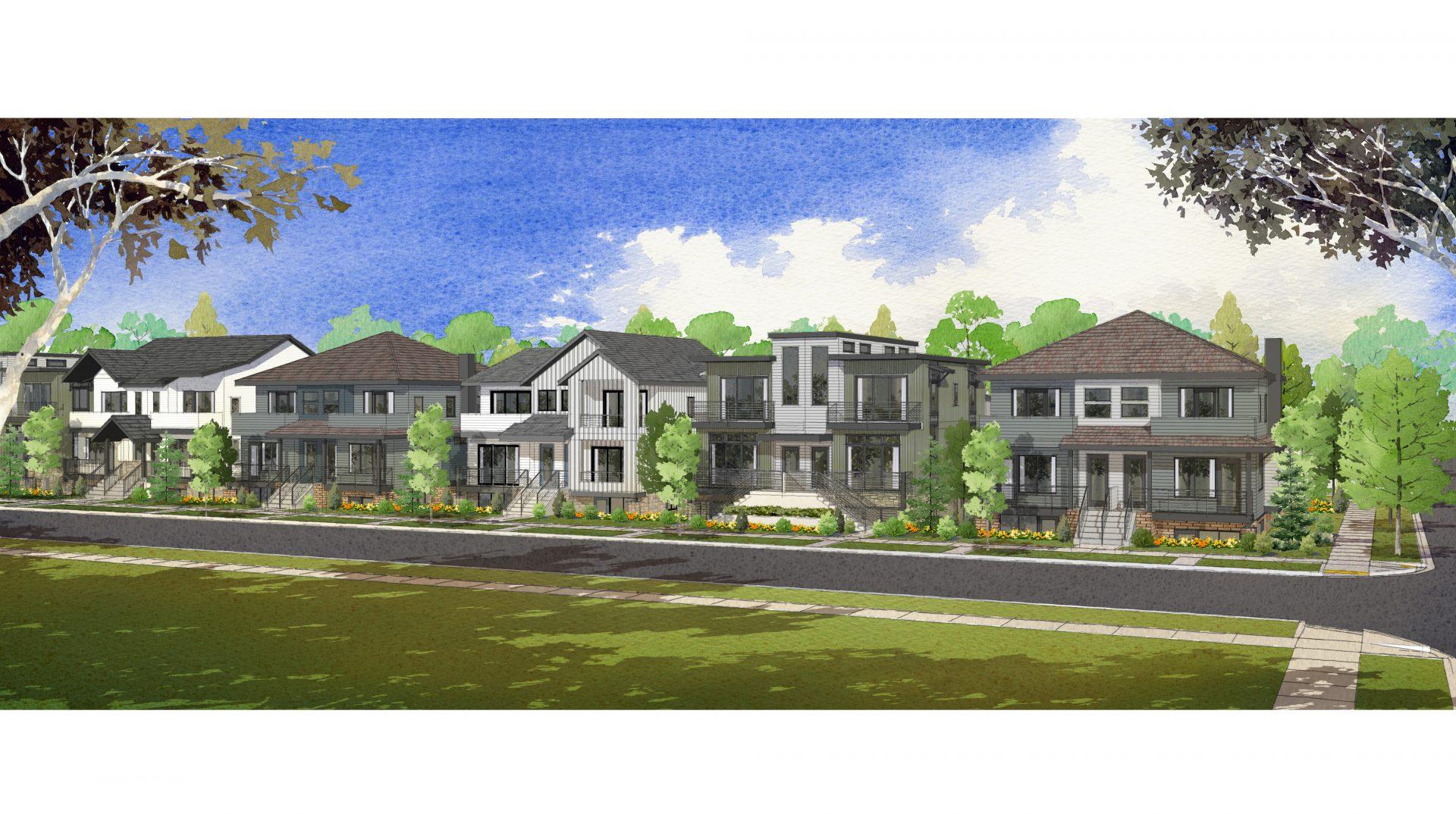 Willson 6 community rendering of homes along street
